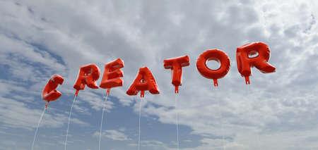 creador: CREADOR - globos de la hoja de color rojo en el cielo azul - 3D representa la imagen de stock libre de derechos. Esta imagen se puede utilizar para un anuncio bandera del Web site en línea o una postal de impresión.