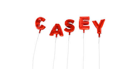 CASEY - word made from red foil balloons - 3D rendered.  Can be used for an online banner ad or a print postcard. Stock Photo