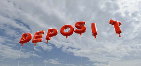 DEPOSIT - red foil balloons on blue sky - 3D rendered royalty free stock picture. This image can be used for an online website banner ad or a print postcard.