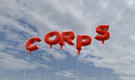 corps: CORPS - red foil balloons on blue sky - 3D rendered royalty free stock picture. This image can be used for an online website banner ad or a print postcard. Stock Photo