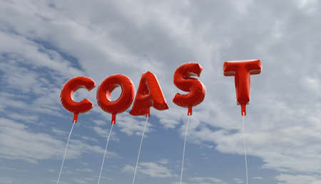 COAST - red foil balloons on blue sky - 3D rendered royalty free stock picture. This image can be used for an online website banner ad or a print postcard.
