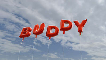 BUDDY - red foil balloons on blue sky - 3D rendered royalty free stock picture. This image can be used for an online website banner ad or a print postcard.