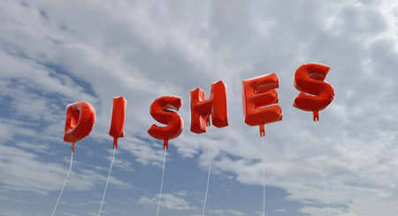 DISHES - red foil balloons on blue sky - 3D rendered royalty free stock picture. This image can be used for an online website banner ad or a print postcard.
