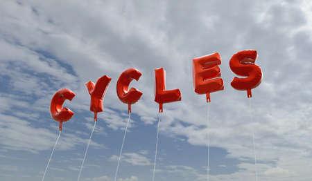 cycles: CICLOS - globos de la hoja de color rojo en el cielo azul - 3D representa la imagen de stock libre de derechos. Esta imagen se puede utilizar para un anuncio bandera del Web site en línea o una postal de impresión.