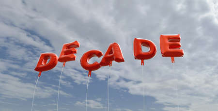 decade: DECADE - red foil balloons on blue sky - 3D rendered royalty free stock picture. This image can be used for an online website banner ad or a print postcard.