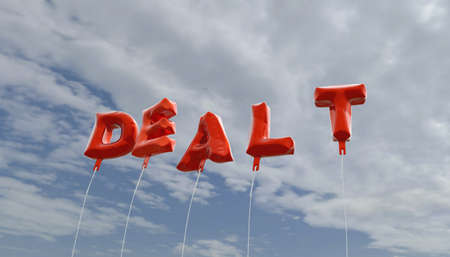 dealt: DEALT - red foil balloons on blue sky - 3D rendered royalty free stock picture. This image can be used for an online website banner ad or a print postcard.