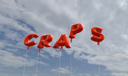 CRAPS - red foil balloons on blue sky - 3D rendered royalty free stock picture. This image can be used for an online website banner ad or a print postcard.
