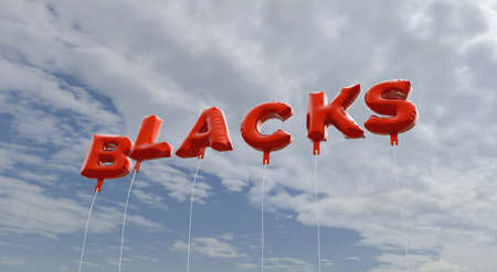 blacks: BLACKS - red foil balloons on blue sky - 3D rendered royalty free stock picture. This image can be used for an online website banner ad or a print postcard.