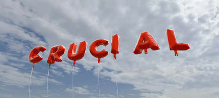 CRUCIAL - red foil balloons on blue sky - 3D rendered royalty free stock picture. This image can be used for an online website banner ad or a print postcard. Stock Photo