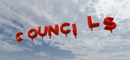councils: COUNCILS - red foil balloons on blue sky - 3D rendered royalty free stock picture. This image can be used for an online website banner ad or a print postcard.
