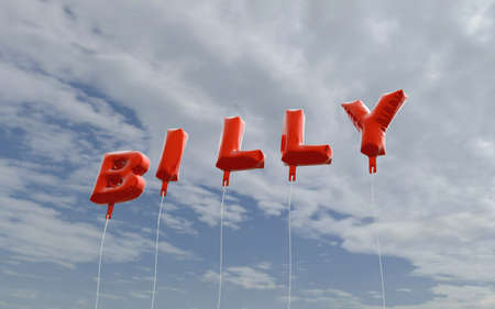billy: BILLY - red foil balloons on blue sky - 3D rendered royalty free stock picture. This image can be used for an online website banner ad or a print postcard. Stock Photo