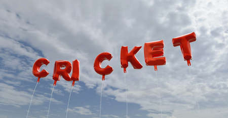 CRICKET - red foil balloons on blue sky - 3D rendered royalty free stock picture. This image can be used for an online website banner ad or a print postcard.