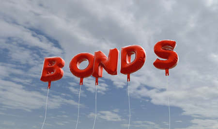 BONDS - red foil balloons on blue sky - 3D rendered royalty free stock picture. This image can be used for an online website banner ad or a print postcard.
