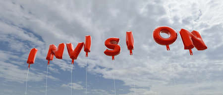 royalty free: INVISION - red foil balloons on blue sky - 3D rendered royalty free stock picture. This image can be used for an online website banner ad or a print postcard. Stock Photo