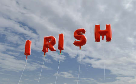 irish banner: IRISH - red foil balloons on blue sky - 3D rendered royalty free stock picture. This image can be used for an online website banner ad or a print postcard.