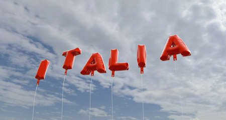 italia: ITALIA - red foil balloons on blue sky - 3D rendered royalty free stock picture. This image can be used for an online website banner ad or a print postcard.