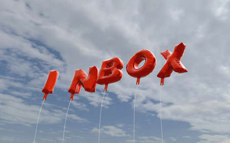 INBOX - red foil balloons on blue sky - 3D rendered royalty free stock picture. This image can be used for an online website banner ad or a print postcard.