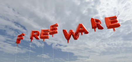 freeware: FREEWARE - red foil balloons on blue sky - 3D rendered royalty free stock picture. This image can be used for an online website banner ad or a print postcard. Stock Photo