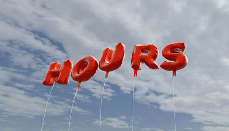 royalty free: HOURS - red foil balloons on blue sky - 3D rendered royalty free stock picture. This image can be used for an online website banner ad or a print postcard.