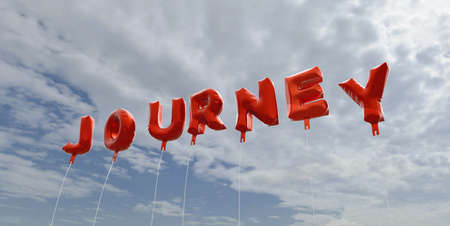 JOURNEY - red foil balloons on blue sky - 3D rendered royalty free stock picture. This image can be used for an online website banner ad or a print postcard.