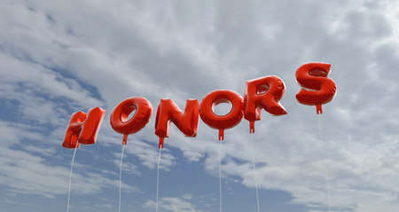 honors: HONORS - red foil balloons on blue sky - 3D rendered royalty free stock picture. This image can be used for an online website banner ad or a print postcard.