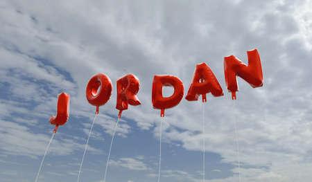 JORDAN - rode folie ballonnen op blauwe hemel - beeld 3D gerenderd royalty-vrije stock. Deze afbeelding kan worden gebruikt voor een online-banneradvertentie of een prentkaart.