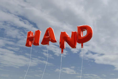 hand red: HAND - red foil balloons on blue sky - 3D rendered royalty free stock picture. This image can be used for an online website banner ad or a print postcard.