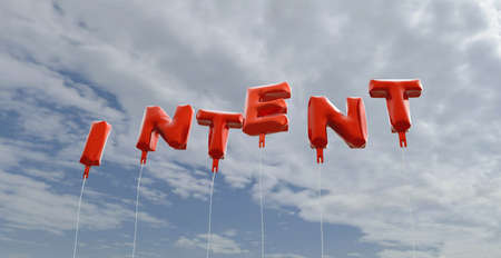 intent: INTENT - red foil balloons on blue sky - 3D rendered royalty free stock picture. This image can be used for an online website banner ad or a print postcard. Stock Photo