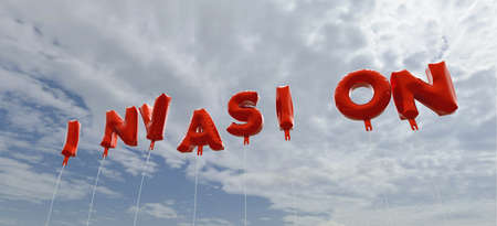 an invasion: INVASION - red foil balloons on blue sky - 3D rendered royalty free stock picture. This image can be used for an online website banner ad or a print postcard.
