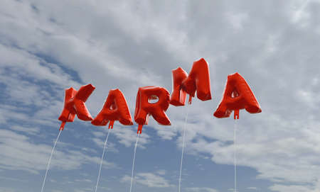 KARMA - red foil balloons on blue sky - 3D rendered royalty free stock picture. This image can be used for an online website banner ad or a print postcard.