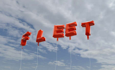 fleet: FLEET - red foil balloons on blue sky - 3D rendered royalty free stock picture. This image can be used for an online website banner ad or a print postcard.