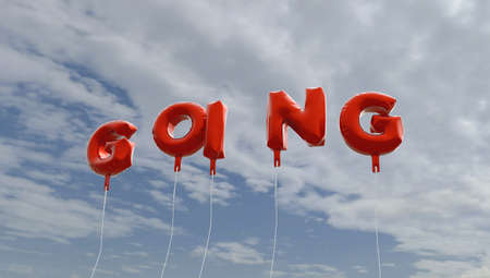 GOING - red foil balloons on blue sky - 3D rendered royalty free stock picture. This image can be used for an online website banner ad or a print postcard. Stock Photo