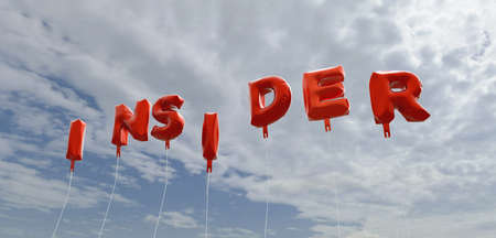 insider: INSIDER - red foil balloons on blue sky - 3D rendered royalty free stock picture. This image can be used for an online website banner ad or a print postcard.