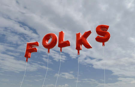 folks: FOLKS - red foil balloons on blue sky - 3D rendered royalty free stock picture. This image can be used for an online website banner ad or a print postcard. Stock Photo