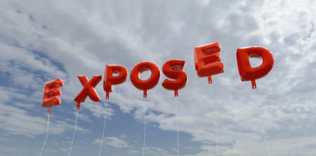 exposed: EXPOSED - red foil balloons on blue sky - 3D rendered royalty free stock picture. This image can be used for an online website banner ad or a print postcard.