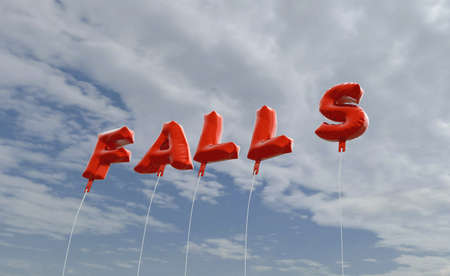 FALLS - red foil balloons on blue sky - 3D rendered royalty free stock picture. This image can be used for an online website banner ad or a print postcard.
