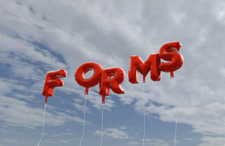 FORMS - red foil balloons on blue sky - 3D rendered royalty free stock picture. This image can be used for an online website banner ad or a print postcard.