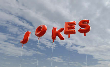 jokes: JOKES - red foil balloons on blue sky - 3D rendered royalty free stock picture. This image can be used for an online website banner ad or a print postcard.