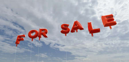 FOR SALE - red foil balloons on blue sky - 3D rendered royalty free stock picture. This image can be used for an online website banner ad or a print postcard. Stock Photo