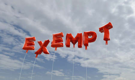 exempt: EXEMPT - red foil balloons on blue sky - 3D rendered royalty free stock picture. This image can be used for an online website banner ad or a print postcard. Stock Photo