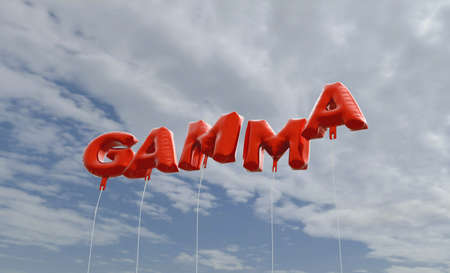 gamma: GAMMA - red foil balloons on blue sky - 3D rendered royalty free stock picture. This image can be used for an online website banner ad or a print postcard.