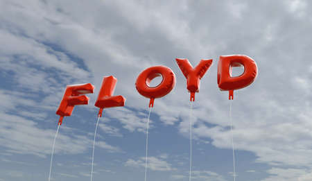 FLOYD - red foil balloons on blue sky - 3D rendered royalty free stock picture. This image can be used for an online website banner ad or a print postcard.