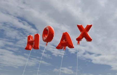 hoax: HOAX - red foil balloons on blue sky - 3D rendered royalty free stock picture. This image can be used for an online website banner ad or a print postcard.