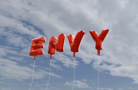 envy: ENVY - red foil balloons on blue sky - 3D rendered royalty free stock picture. This image can be used for an online website banner ad or a print postcard. Stock Photo