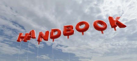 HANDBOOK - red foil balloons on blue sky - 3D rendered royalty free stock picture. This image can be used for an online website banner ad or a print postcard.