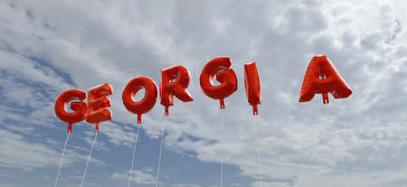 georgia: GEORGIA - red foil balloons on blue sky - 3D rendered royalty free stock picture. This image can be used for an online website banner ad or a print postcard.