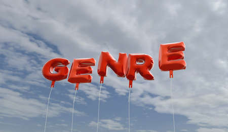 GENRE - red foil balloons on blue sky - 3D rendered royalty free stock picture. This image can be used for an online website banner ad or a print postcard.