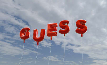 GUESS - red foil balloons on blue sky - 3D rendered royalty free stock picture. This image can be used for an online website banner ad or a print postcard. Stock Photo