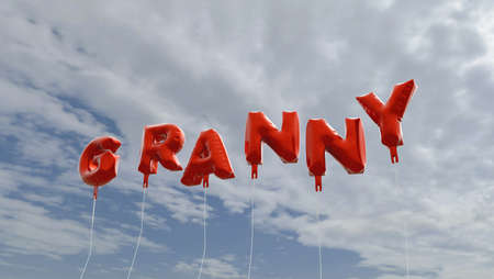 GRANNY - red foil balloons on blue sky - 3D rendered royalty free stock picture. This image can be used for an online website banner ad or a print postcard.