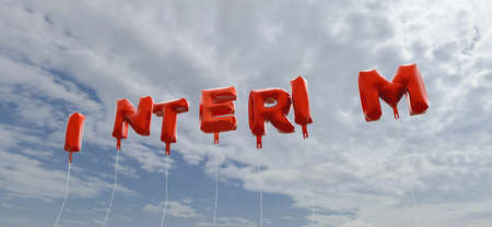 interim: INTERIM - red foil balloons on blue sky - 3D rendered royalty free stock picture. This image can be used for an online website banner ad or a print postcard. Stock Photo